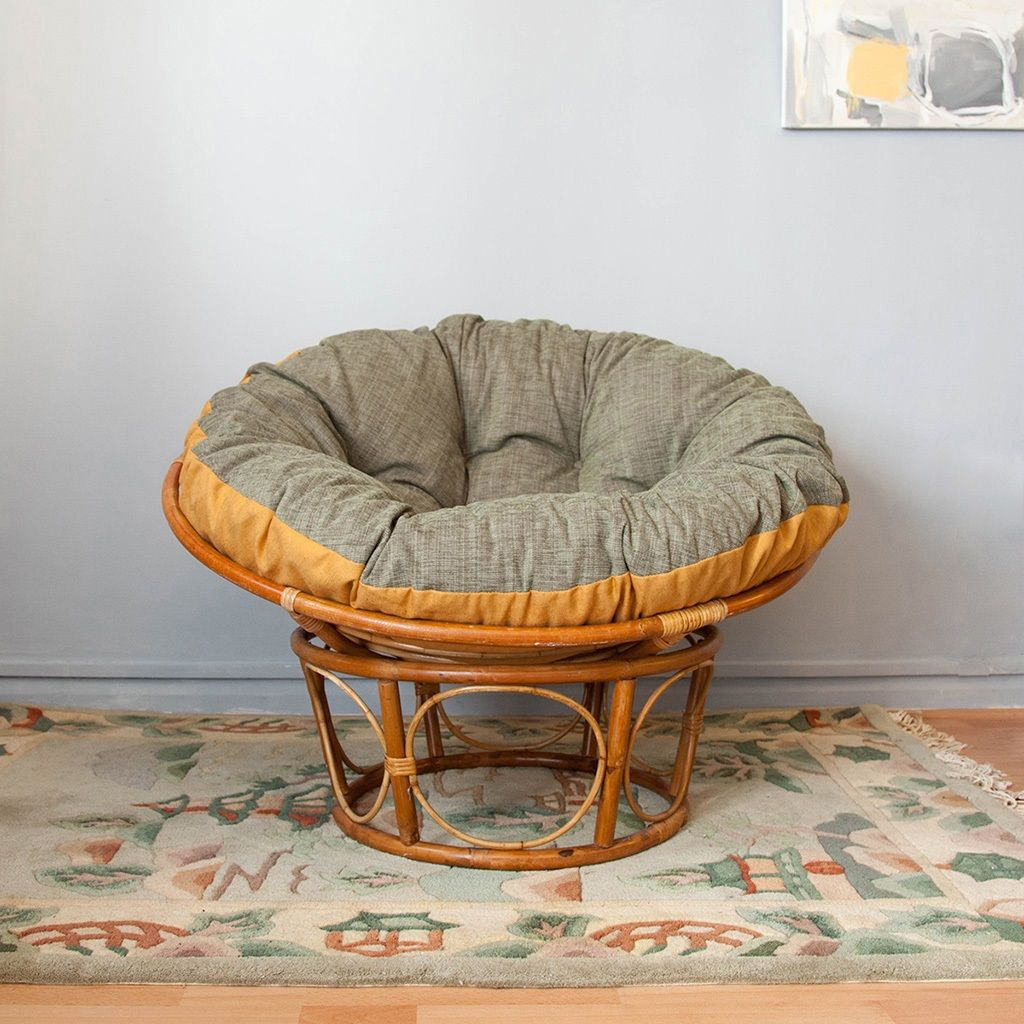1970s Round Cane Chair With Flip Cushion